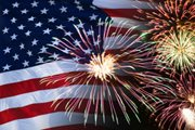 American Flags with fireworks