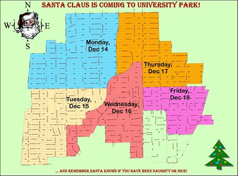 Map for Santa around town
