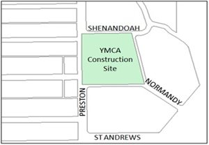 Park Cities YMCA Construction map