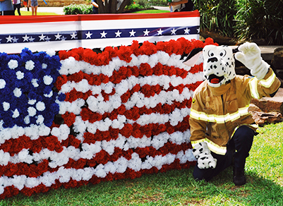 Dalmatian costume in front of American flag banner